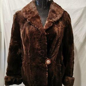 Vintage Fashion House Furs Brown Beaver Coat Med